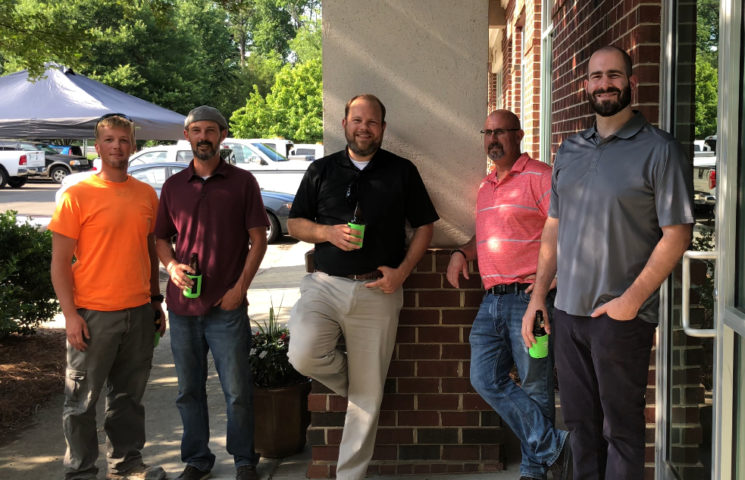 Some of our engineering staff catching up during our 10th Anniversary Celebration.